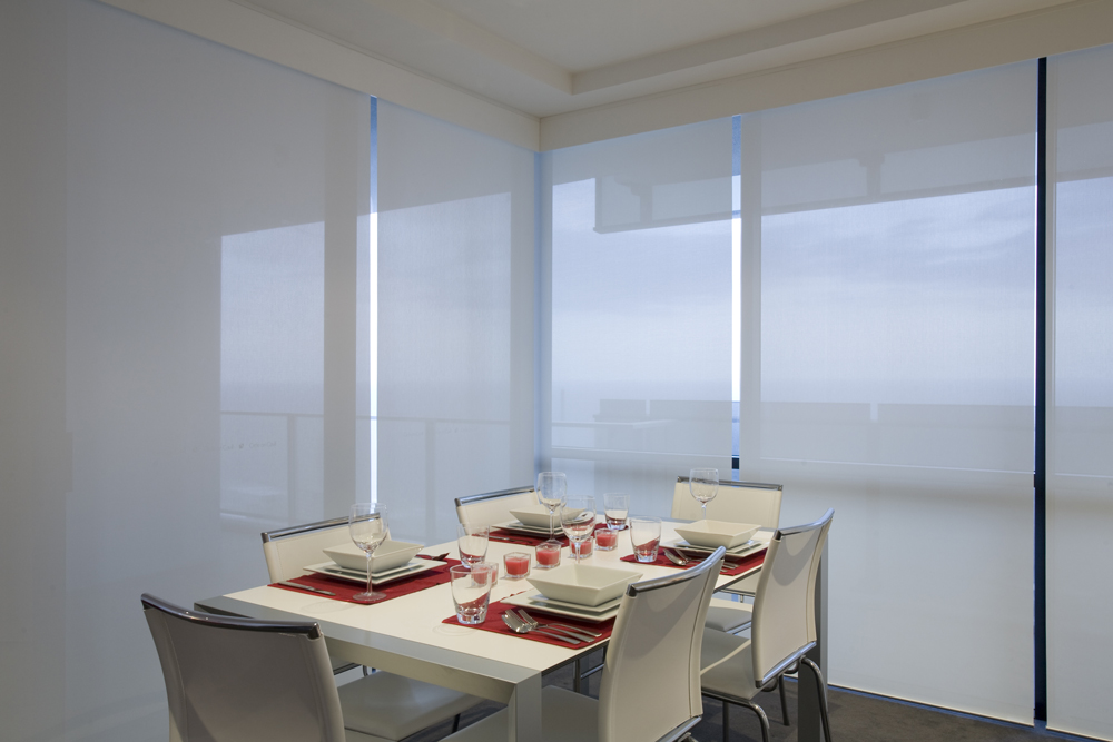 Roller blinds in a dining room