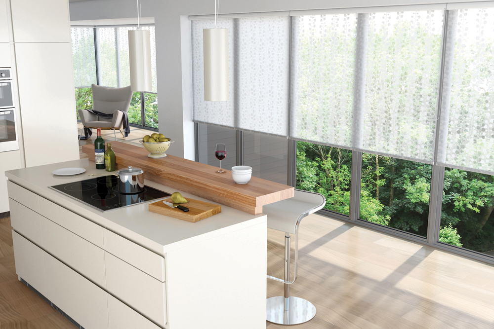 White light filtering fabric roller blinds in kitchen