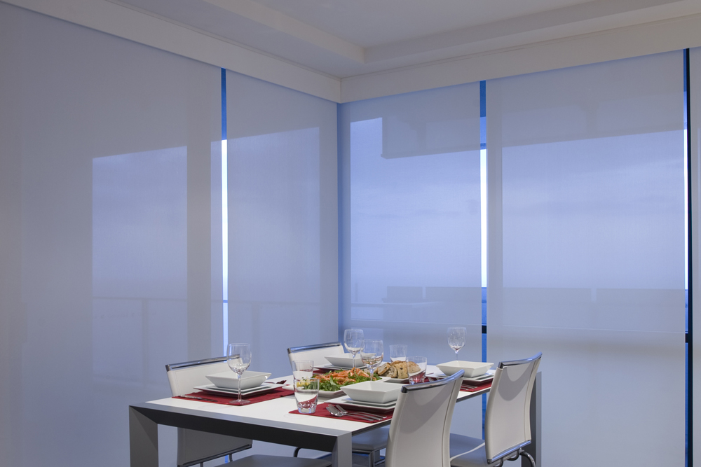 Roller blinds in a light filtering fabric