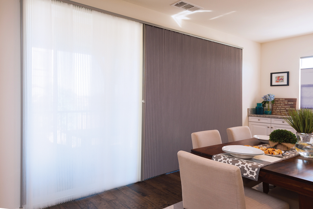 Vertical Thermacell honeycomb blinds on door