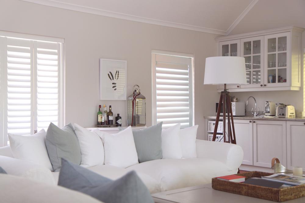White Santa Fe shutters in white lounge