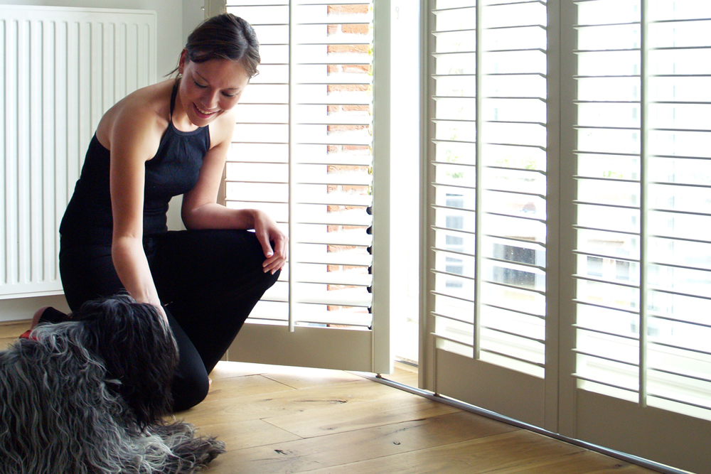 Lady with dog beside Santa Fe shutters