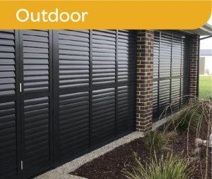Black aluminum outdoor shutters
