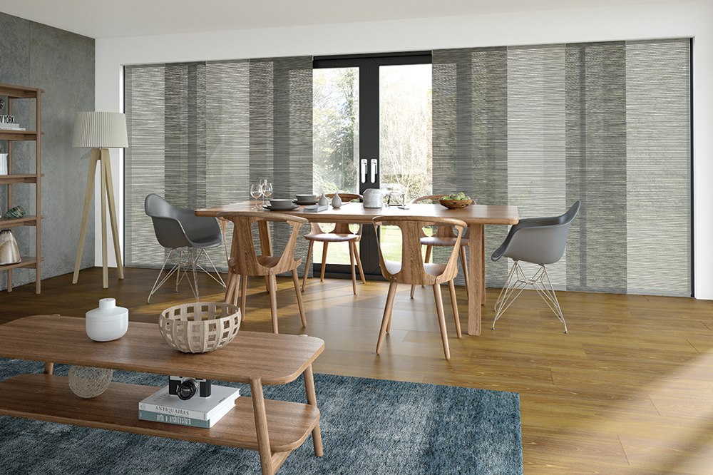 Grey fabric Panel Curtains in a dining room