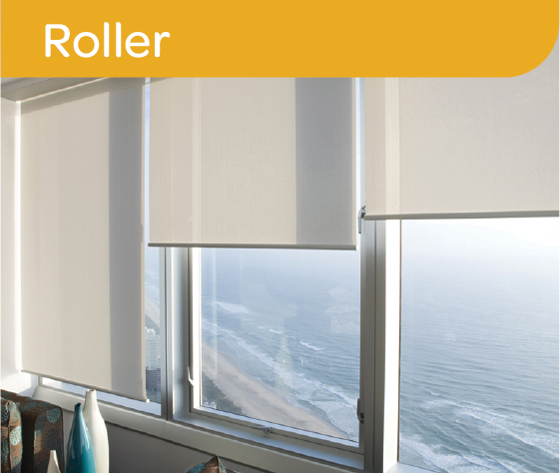 Roller blinds partly pulled down