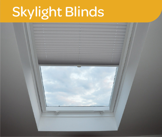 White Thermacell honeycomb blinds on a skylight window