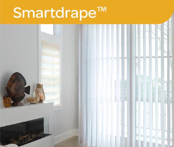 White Smartdrape curtain blinds