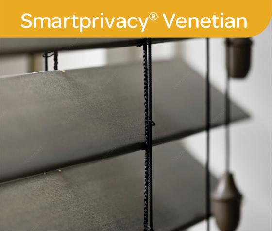 Black SmartPrivacy venetian blind